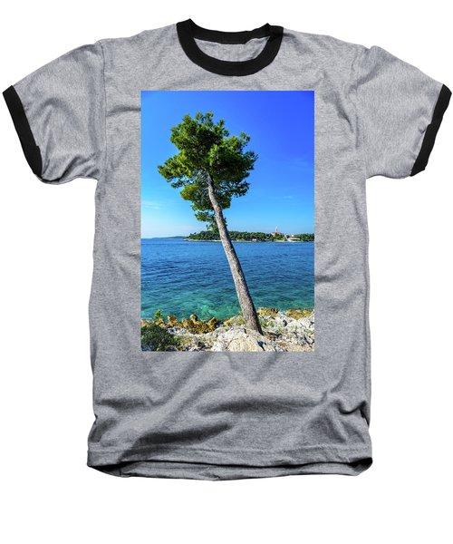 Seaside Leaning Tree In Rovinj, Croatia Baseball T-Shirt