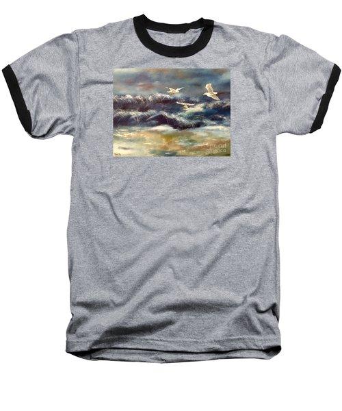 Baseball T-Shirt featuring the painting Seaside Serenade by Denise Tomasura