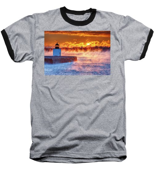 Seasmoke At Salem Lighthouse Baseball T-Shirt