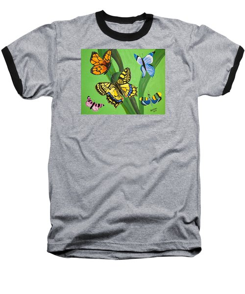 Baseball T-Shirt featuring the painting Season Of Butterflies by Donna Blossom