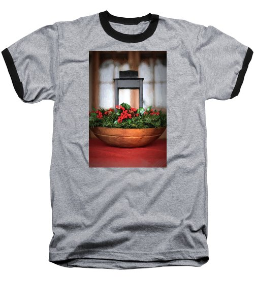 Baseball T-Shirt featuring the photograph Seasons Greetings Christmas Centerpiece by Shelley Neff