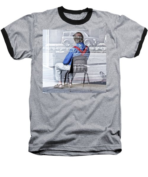 Seated Man Baseball T-Shirt