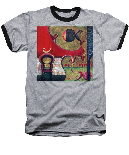 Baseball T-Shirt featuring the painting Seatime by Anna Ewa Miarczynska