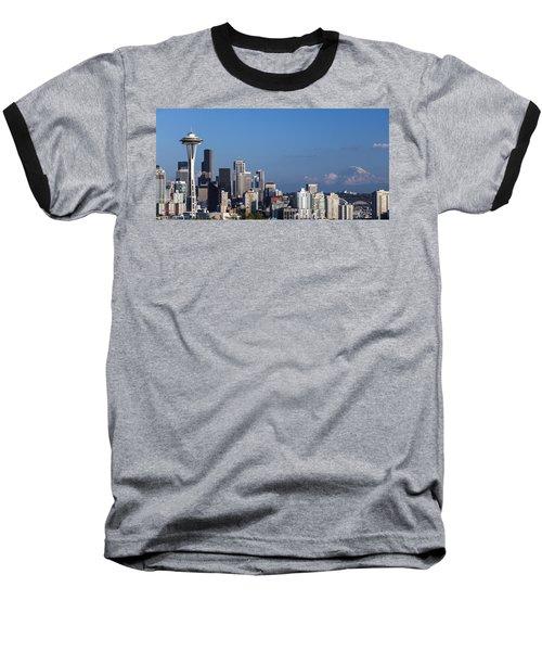 Seattle And Mt Rainier Baseball T-Shirt by Ed Clark