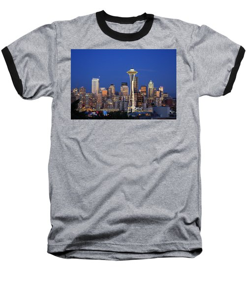 Seattle At Dusk Baseball T-Shirt
