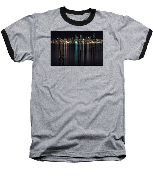 Seattle At Night Baseball T-Shirt