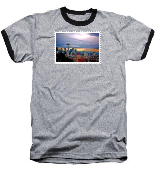 Seattle At Sunset Baseball T-Shirt by Elaine Plesser