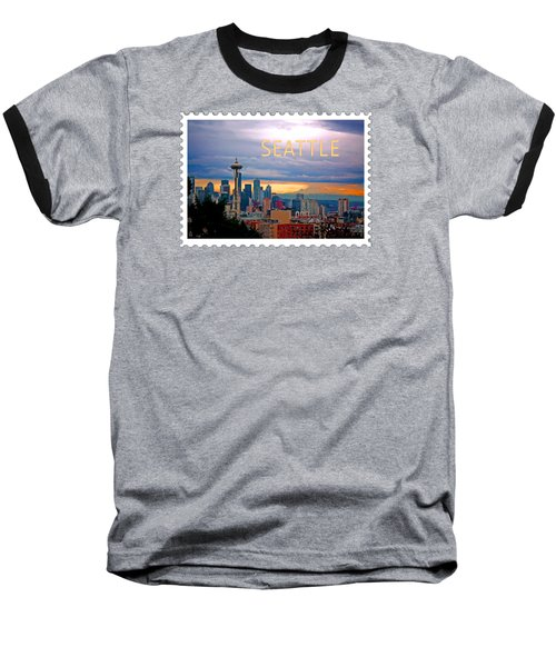Seattle At Sunset Text Seattle Baseball T-Shirt by Elaine Plesser