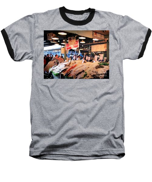 Seattle Fish Throw Pike St Market Baseball T-Shirt