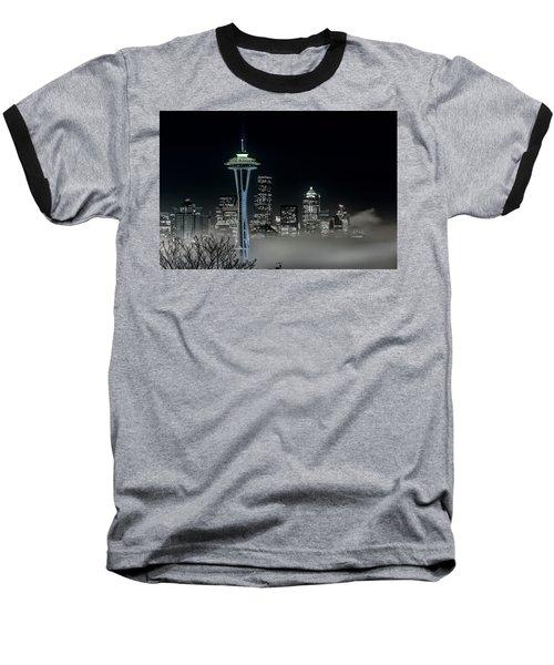 Seattle Foggy Night Lights In Bw Baseball T-Shirt