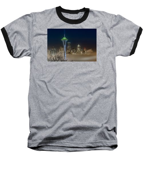 Baseball T-Shirt featuring the photograph Seattle Foggy Night Lights by Ken Stanback