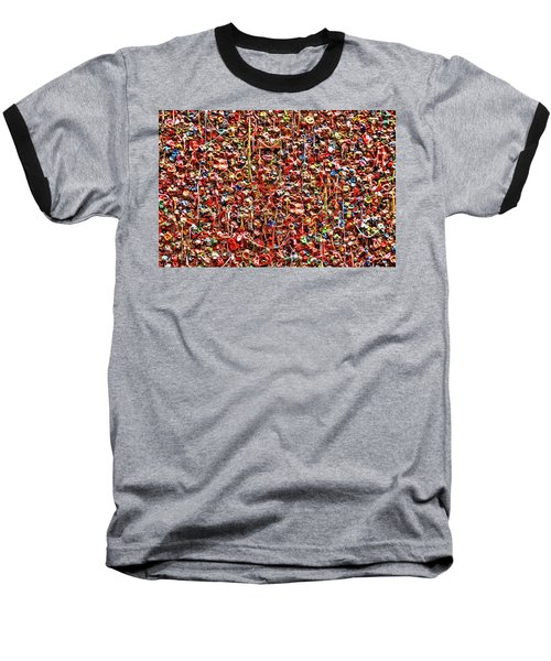 Seattle Gum Wall 2 Baseball T-Shirt by Allen Beatty
