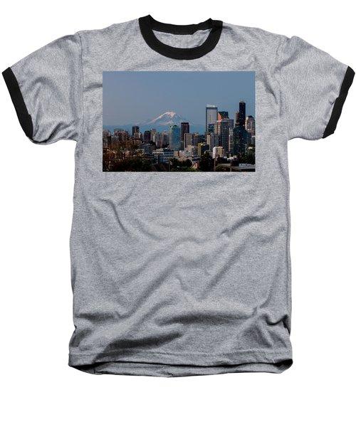 Seattle-mt. Rainier In The Morning Light .1 Baseball T-Shirt by E Faithe Lester