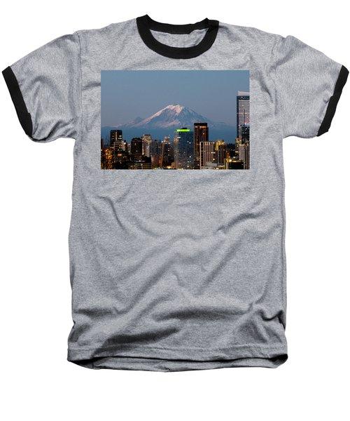 Seattle-mt. Rainier In The Morning Light.2 Baseball T-Shirt by E Faithe Lester