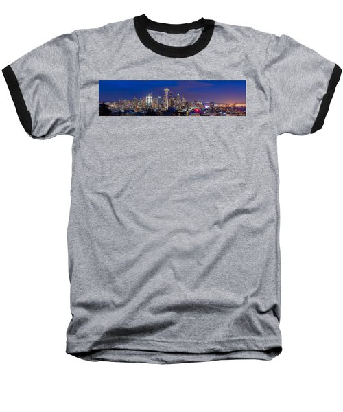 Baseball T-Shirt featuring the photograph Seattle Night View by Ken Stanback