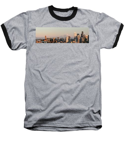 Seattle Panorama At Dusk Baseball T-Shirt