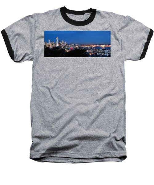 Seattle Panorama At Twilight Baseball T-Shirt