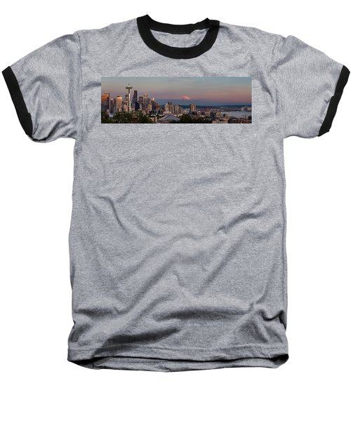 Baseball T-Shirt featuring the photograph Seattle Skyline And Mt. Rainier Panoramic Hd by Adam Romanowicz