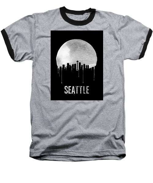 Seattle Skyline Black Baseball T-Shirt by Naxart Studio
