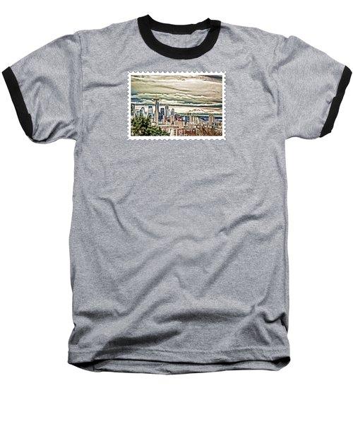 Seattle Skyline In Fog And Rain Baseball T-Shirt by Elaine Plesser