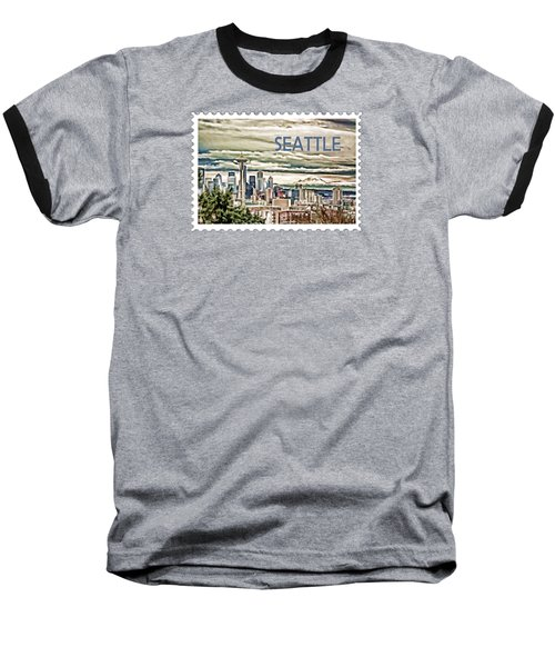 Seattle Skyline In Fog And Rain Text Seattle Baseball T-Shirt by Elaine Plesser
