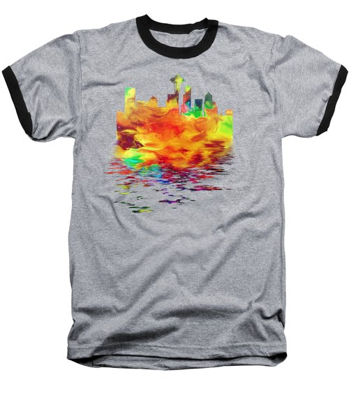 Seattle Skyline, Orange Tones On Black Baseball T-Shirt by Pamela Saville
