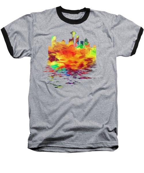 Seattle Skyline, Orange Tones On Black Baseball T-Shirt