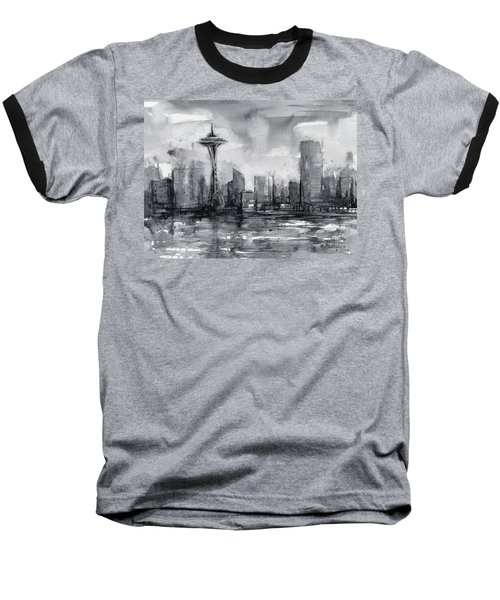 Seattle Skyline Painting Watercolor  Baseball T-Shirt by Olga Shvartsur