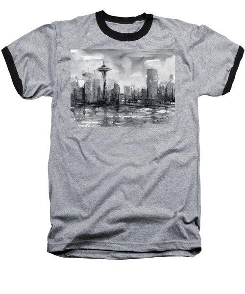 Seattle Skyline Painting Watercolor  Baseball T-Shirt