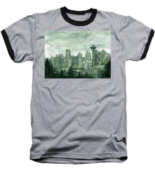 Seattle Skyline Watercolor Space Needle Baseball T-Shirt