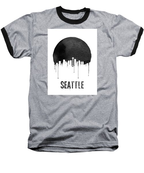 Seattle Skyline White Baseball T-Shirt by Naxart Studio