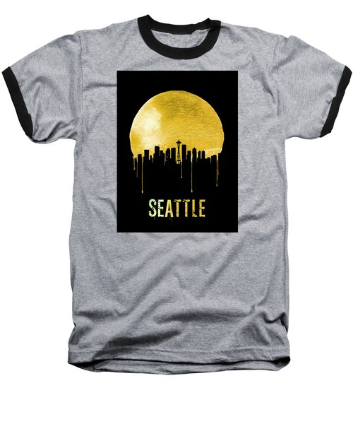 Seattle Skyline Yellow Baseball T-Shirt by Naxart Studio