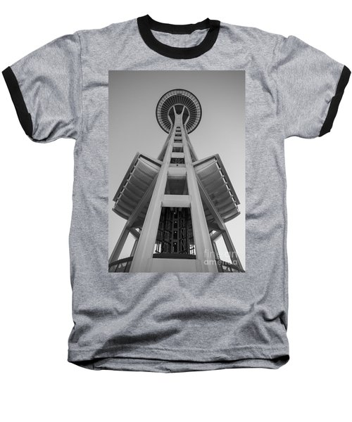 Seattle Space Needle In Black And White Baseball T-Shirt by Patrick Fennell