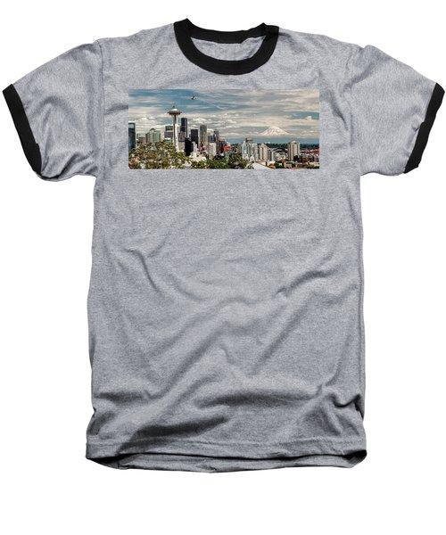 Seattle Space Needle With Mt. Rainier Baseball T-Shirt by Tony Locke