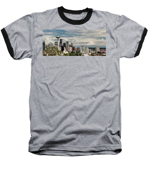 Seattle Space Needle With Mt. Rainier Baseball T-Shirt