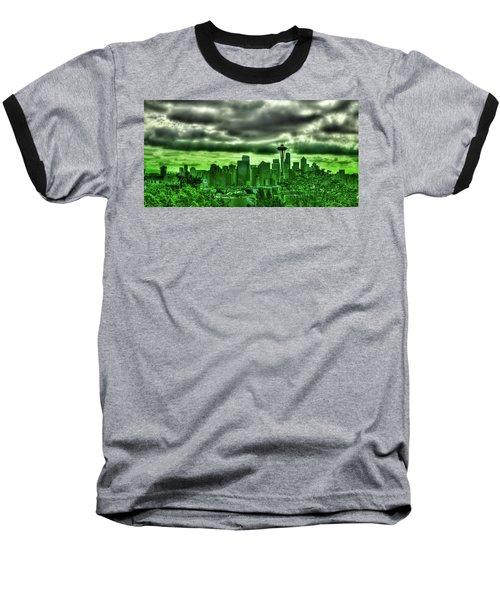 Seattle - The Emerald City Panorama Baseball T-Shirt by David Patterson