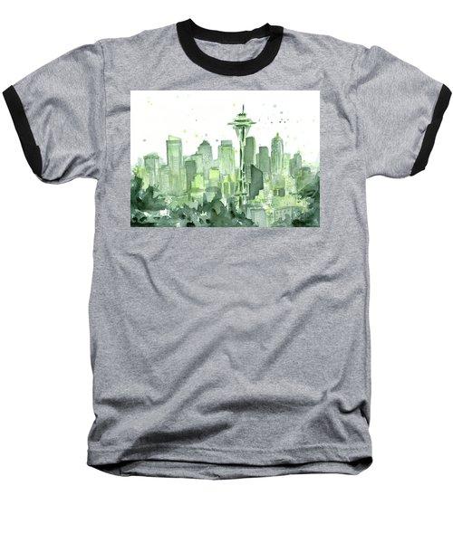 Seattle Watercolor Baseball T-Shirt