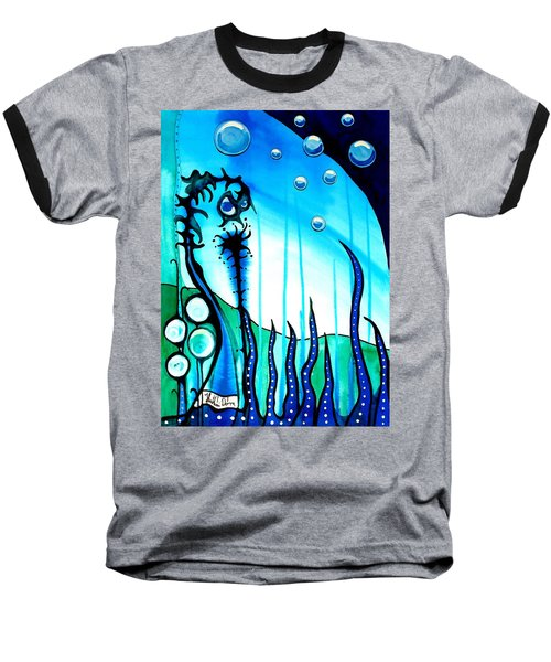 Baseball T-Shirt featuring the painting Seaweed - Art By Dora Hathazi Mendes by Dora Hathazi Mendes