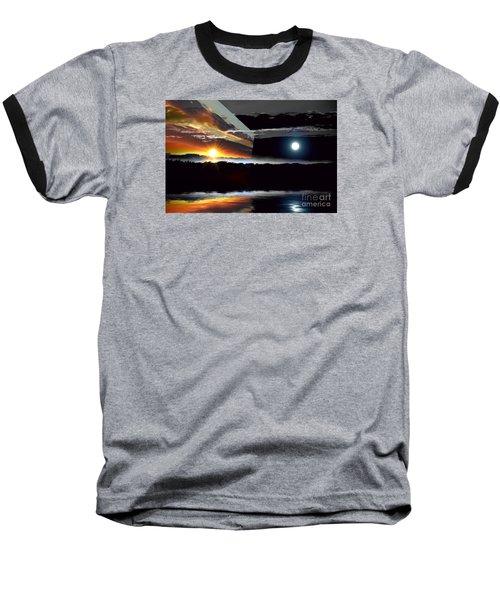 Sechelt Sunset Day And Night Baseball T-Shirt by Elaine Hunter