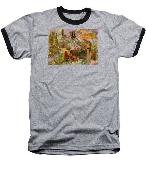 Baseball T-Shirt featuring the mixed media Secrets by Mary Schiros