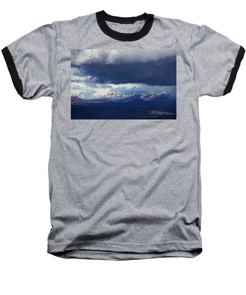 Sedona Area Third Winter Storm Baseball T-Shirt by Ron Chilston