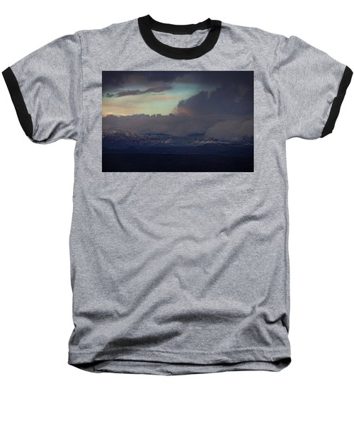 Sedona At Sunset With Red Rock Snow Baseball T-Shirt