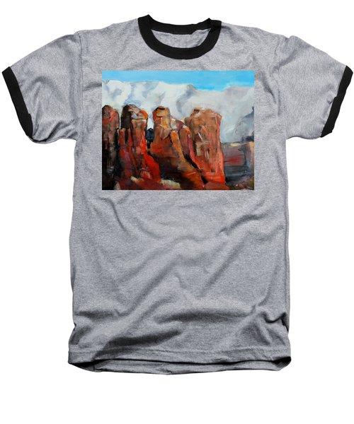 Sedona Coffee Pot Rock Painting Baseball T-Shirt by Michele Carter