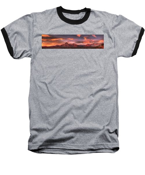 Sedona Sunset Panorama Baseball T-Shirt