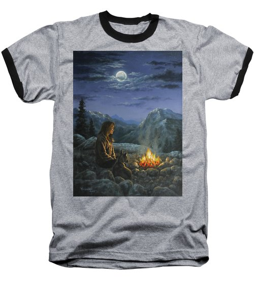 Baseball T-Shirt featuring the painting Seeking Solace by Kim Lockman
