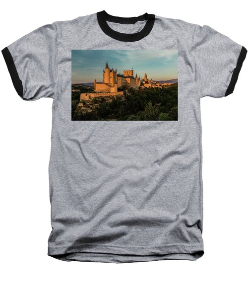 Segovia Alcazar And Cathedral Golden Hour Baseball T-Shirt