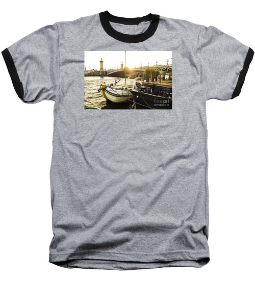 Seine River With Barges And Boats, Pont De Alexandre Bridge Behind, Paris France. Baseball T-Shirt by Perry Van Munster