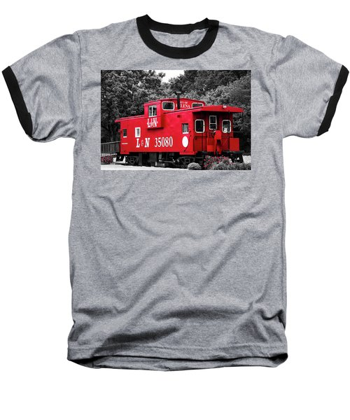 Baseball T-Shirt featuring the photograph Selective Color Red Caboose by Parker Cunningham