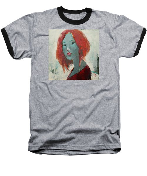 Baseball T-Shirt featuring the painting Self Portrait 1502 by Becky Kim