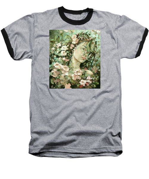 Self Portrait With Aplle Flowers Baseball T-Shirt by Vali Irina Ciobanu